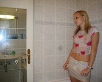 Watched by cam girlfriend strips in the bathroom