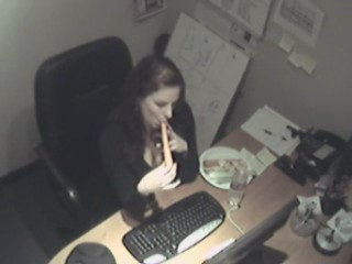 Security cam in the office filming carrot penetrations! from Security Cams Fuck