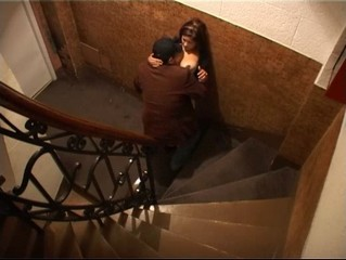 Head job and endvill kip on the stairs! from Security Cams Fuck