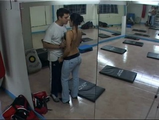 Aerobics coach playing with her client! from Security Cams Fuck