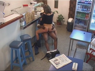 Interracial fuck in the cafe!