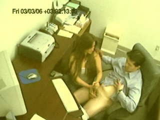 Hand job in the office! from Security Cams Fuck