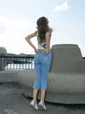 Hot posing show from babe with sweet bun in jeans from Upskirt Collection