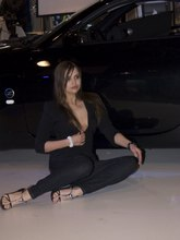 Babe's upblouse gets spied when she poses near the car from Upskirt Collection