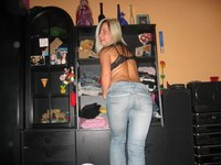 Teen girls in tight jeans fool around and show panties from Upskirt Collection