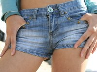 Tiny jeans shorts slid down exposing black string from Upskirt Collection