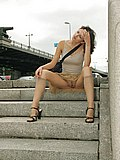 Hot trimmed pussy shot when chick walks around the town from Upskirt Collection
