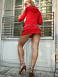 Luxurious babe?s upskirt short under red dress from Upskirt Collection