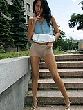 Doll in sheer hose and skirt gets shot when spreading legs from Upskirt Collection