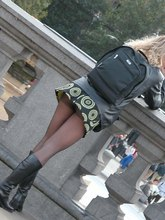 Voyeur upskirt pictures with panty peeking out in public from Upskirt Collection