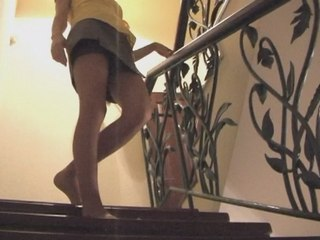 Mini skirt upskirt video with girl going downstairs from Upskirt Collection